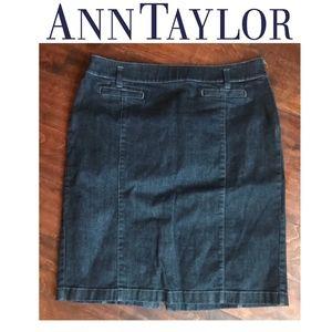 ANN TAYLOR Darkwash Denim Pencil Skirt